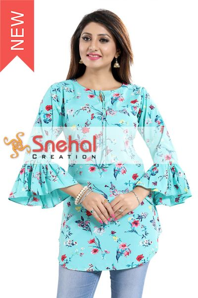 FLOWER PRINT CASUAL KURTI WITH FRILLED SLEEVES