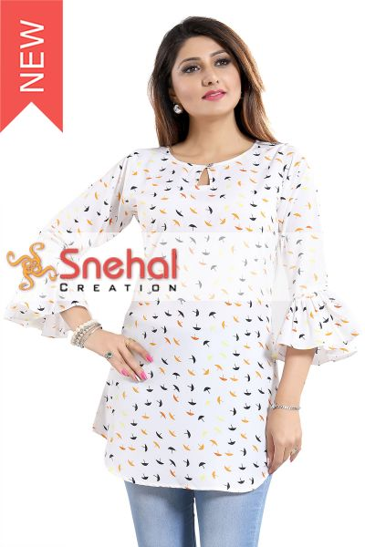 UMBRELLA PRINT CASUAL KURTI WITH FRILLED SLEEVES