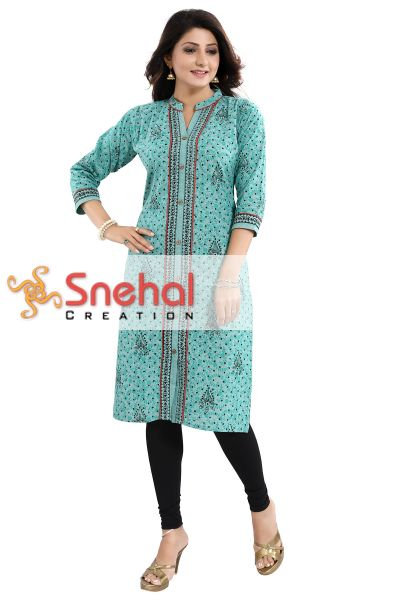 Luscious Light Rama Cotton Printed Long Shirt Style Kurti for Everyday Wear