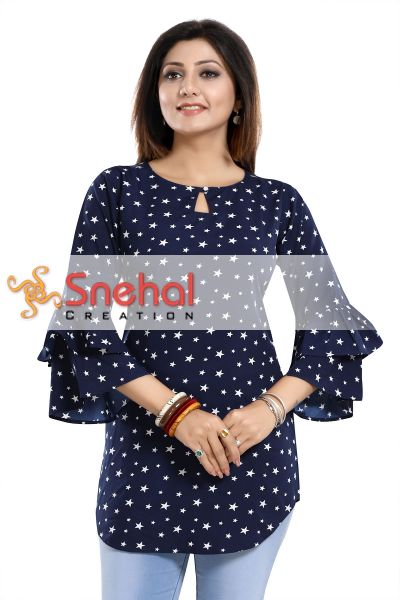 Star Attire Blue Poly Crepe Short Kurta with Frilled Sleeves