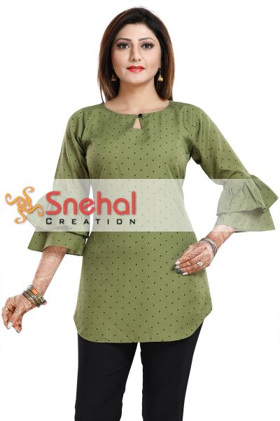 Green Poly Crepe Short Kurta with Frilled Sleeves