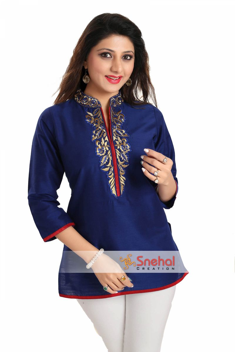 regal affair royal blue raw silk short tunic top with gold. Black Bedroom Furniture Sets. Home Design Ideas